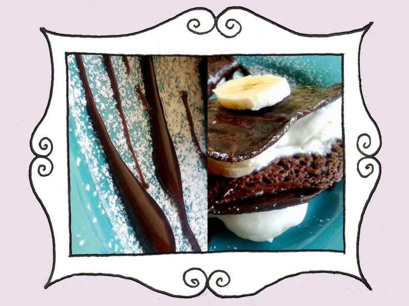 Naleśniki z kakao z dodatkiem banana, waniliowej masy twarogowej i polewą czekoladową