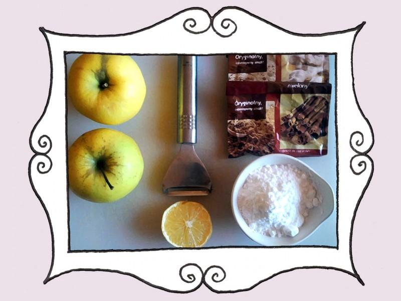 Składniki do jabłek z przyprawami